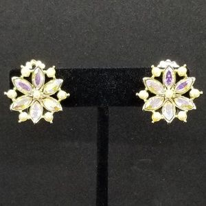 Flower aurora borealis crystal clip-on earrings